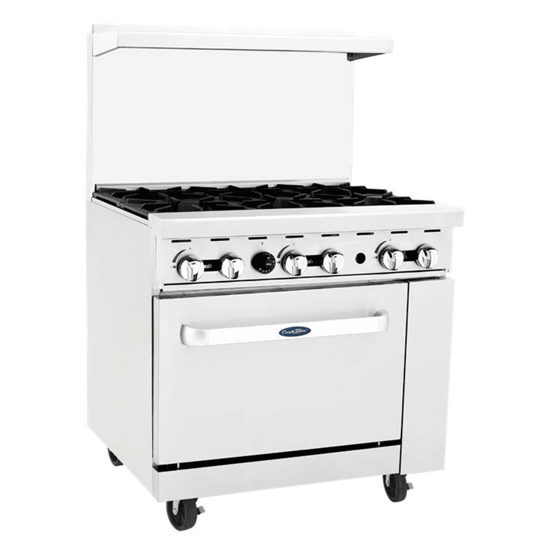 Picture of Atosa CookRite Range  LP gas  36 inch (es) W x 31 inch (es) D x 57-3/8 inch (es) H  (6) 32 000 BTU open burners  removable cast iron top grates  (1) 26-1/2 inch (es) W oven  (2) adjustable chrome