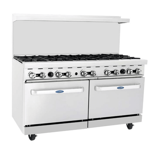 Picture of Atosa CookRite Range  natural gas  48 inch (es) W x 31 inch (es) D x 57-3/8 inch (es) H  (8) 32 000 BTU open burners  removable cast iron top grates  (2) 20 inch (es) W ovens