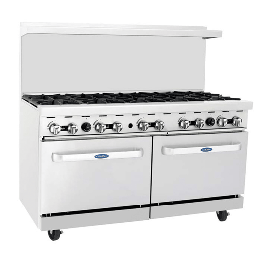 Picture of Atosa CookRite Range  LP gas  60 inch (es) W x 31 inch (es) D x 57-3/8 inch (es) H  (10) 32 000 BTU open burners  removable cast iron top grates  (2) 26-1/2 inch (es) W ovens  (2) adjustable chrom