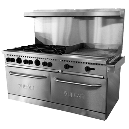 Picture of Vulcan SX Series Restaurant Range  gas  60 inch (es)   (10) 28 000 BTU burners with lift-off burner heads  (2) standard ovens  stainless steel front  sides  backriser