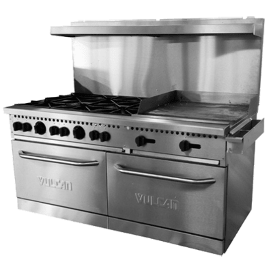 Picture of Vulcan SX Series Restaurant Range  gas  60  inches   (10) 28 000 BTU burners with lift-off burner heads  (2) standard ovens  stainless steel front  sides  backriser