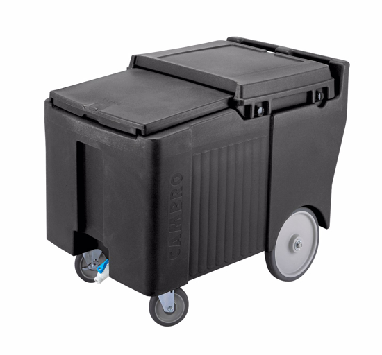 Picture of Cambro Slidinglid Ice Caddy Mobile 29-1/4  inches H 175 Lb. Capacity Lid Slides Back and Under Polyethylene Body With Foam Insulation Molded In Handles Recessed Front Drain Faucet No Assembly Required (2) 5  inches Swivel Casters (1 With Brake) and (2) 10  inches Easy Wheels B