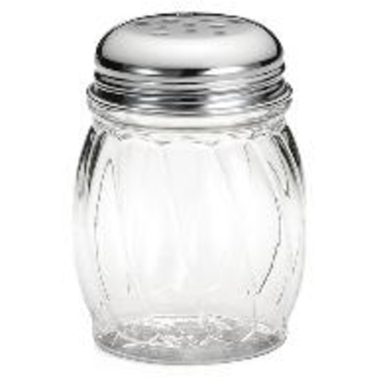 Picture of Tablecraft 6 oz Swirl BPA-Free Tritan™ Shaker  perforated Chrome Plated Top