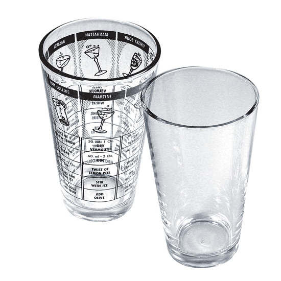 Picture of Co-Rect Products® - Mixing Glass, 16 oz., with recipe graphics, clear