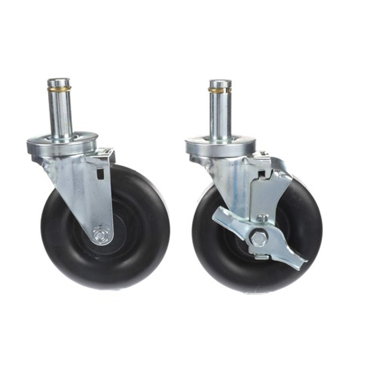 """Picture of Component Hardware Caster Kit, Medium Duty .846"""" x 2-3/4"""" Spring Ring Stem Caster With 5"""" Black Polyolefin Wheel"""