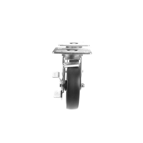 """Picture of Component Hardware Caster Kit, Medium Duty 4"""" x 4"""" Universal Plate Caster With 5"""" Black Polyolefin Wheel"""