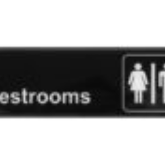 Picture of Winco Information Sign With Symbol 3  inches X 9  inches   inches Restrooms  inches White Imprint On Black