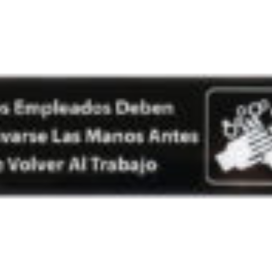 Picture of Winco Information Sign With Symbol 9  inches X 3  inches H  inches Employees Must Wash Hand s Before Returning To Work  inches In Spanish White Imprint On Black Plastic With Adhesive Back