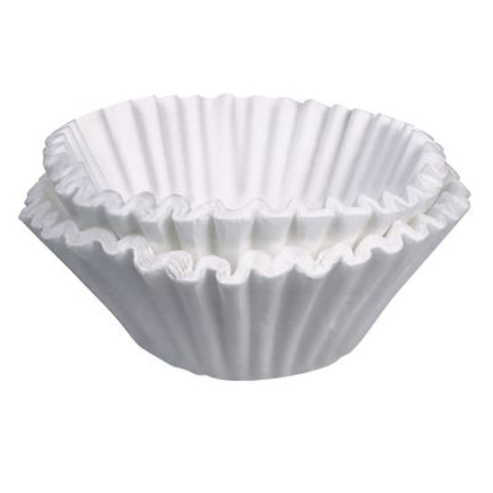 """Picture of 20115.0000  Paper Filters, 9-3/4"""""""" x 4-1/4"""""""", regular, white (for 12-cup decanter brewers) (1000 each per case, price based on 1-229 lbs total weight - call for price on greater quantities)"""